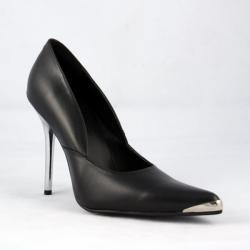 Escarpin noir à talon aiguille et pointe chromé DISCOUNT petit prix taille 37.5