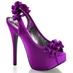 Escarpin burlesque violet à frou-frou et plateforme DISCOUNT petit taille 37.5