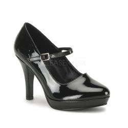 Escarpin Mary Jane noir vernis à petite plateforme - DISCOUNT petit prix taille 43