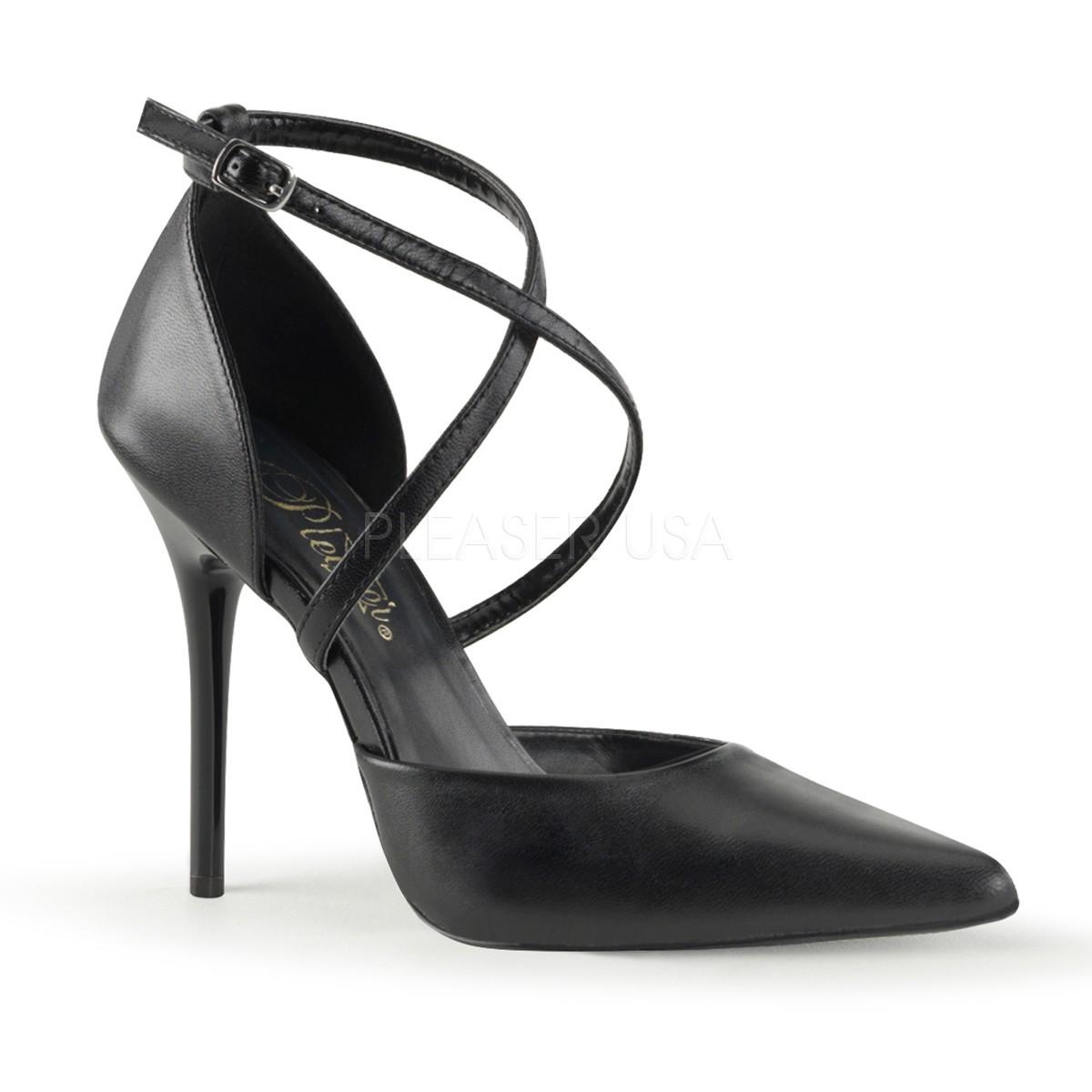 4fa80dbd146d Escarpin cuir noir haut talon aiguille de 11 cm à bride cheville et bout  pointu DISCOUNT pas cher TAILLE 40