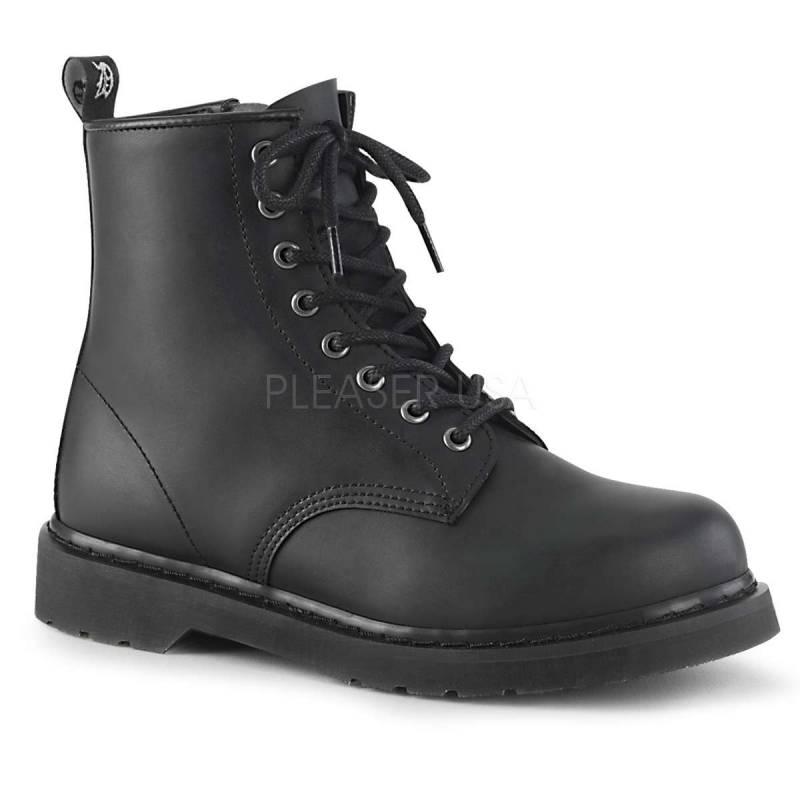 Chaussure gothique Demonia vegan noire à lacets et zip