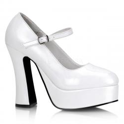 Chaussure Escarpin plateforme blanc à talon carré DOLLY-50 Pleaser
