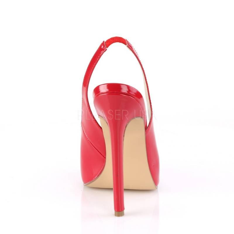 4e3a5a56b52c ... Escarpins sexy rouge vernis à haut talon avec bride arrière et bout  ouvert petite taille 35 ...