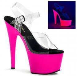 Sandale de pole dance transparente avec plateforme Rose Fluo DISCOUNT taille 36