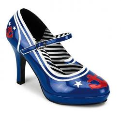 Escarpin style popeye le marin bleu rouge et blanc à talon DICOUNT petit prix taille 40