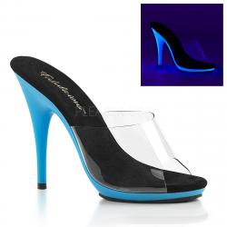 Mules fluo transparente à petite plateforme bleue fluo DISCOUNT petit prix taille 37