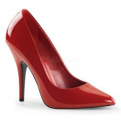 Escarpin rouge vernis à talon sexy de 12 cm - DISCOUNT petit prix grande taille 45