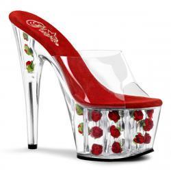 Mule plateforme plexi remplie de fleurs rouges et tige transparente Pleaser