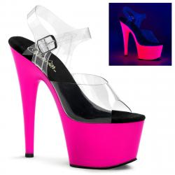 Sandale de pole dance transparente avec plateforme Rose Fluo