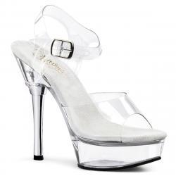 Sandale pole dance transparente à talon chromé et strass - Pleaser