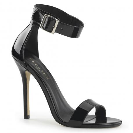 Sandale sexy haut talon aiguille noire vernis en grande taille