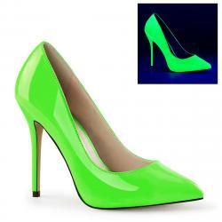 Escarpin vert fluo à plateforme cachée et talon aiguille 12 cm grande pointure du 35 au 46