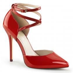 Escarpin rouge haut talon aiguille stiletto de 12 cm avec fine bride cheville croisée grande taille du 35 au 46 *vegan -