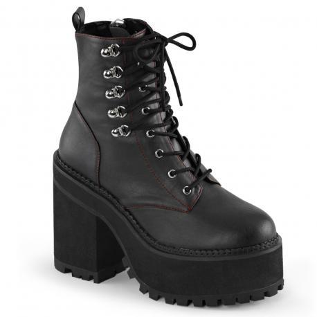 Boots gothique femme noire à lacet avec gros talon et semelle compensée