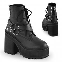Boots / bottines gothique femme à talon carré et semelle plateforme à lacet et goujons