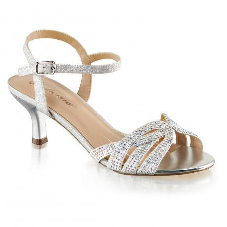 Sandale argentée strass et paillettes à talon moyen
