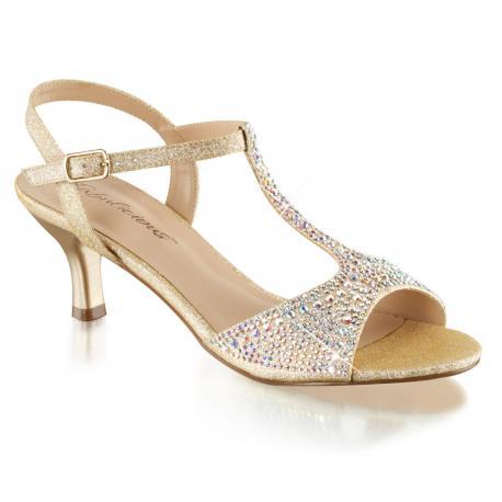Sandale dorée strass à talon moyen 6 cm pour femme