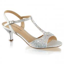 Sandale argentée incrustée de strass à talon moyen 6 cm femme