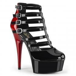 Escarpin bicolore noir et rouge sexy à plateforme et haut talon