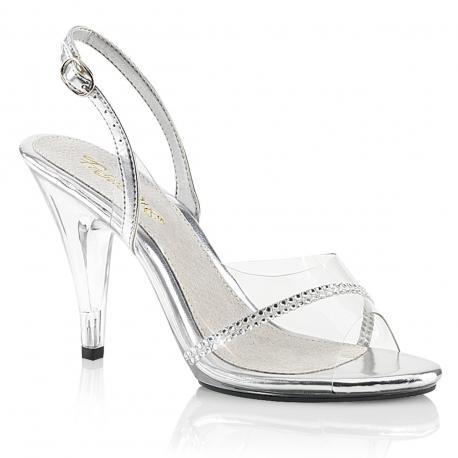 Sandale transparente et strass talon plexi 10 cm