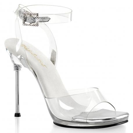 Sandale stiletto transparente et argentée à bride cheville