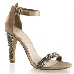 Sandale de soirée bronze à paillettes - strass et haut talon