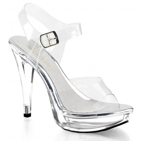 Sandale à talon et plateforme plexi transparente grande taille du 35 au 44