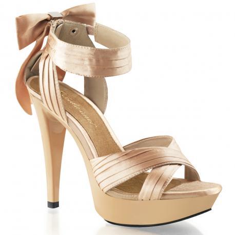 Sandale plateforme en satin beige à talon haut - petite et grande taille