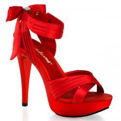 Sandale plateforme en satin rouge à talon haut - petite et grande taille