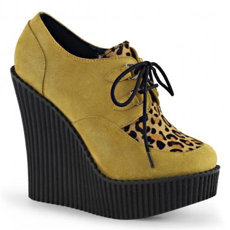 Creepers compensés pour femme jaune moutarde et léopard