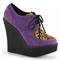 Creepers compensés pour femme violet et léopard look underground !