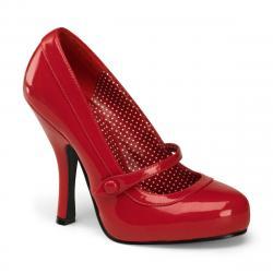 Chaussure pin up rouge à talon et plateforme vintage