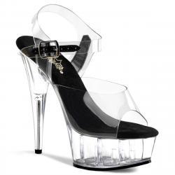 Sandale pole dance transparente et noire à plateforme plexi