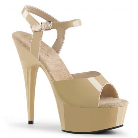 Sandales plateforme beige vernis à talon grande taille du 35 au 44