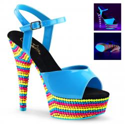 Sandale bleue plateforme à talon originale à perles multicolores