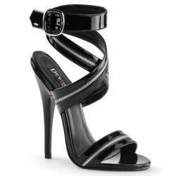 Sandale sexy haut talon noire à bride zip petite taille 35 à grande taille 44