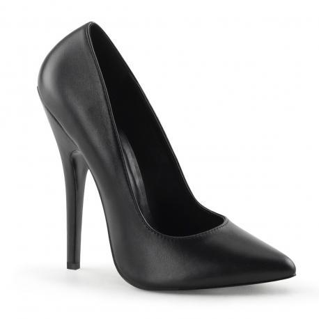Escarpin cuir noir talon aiguille sexy grande pointure du 35 au 46
