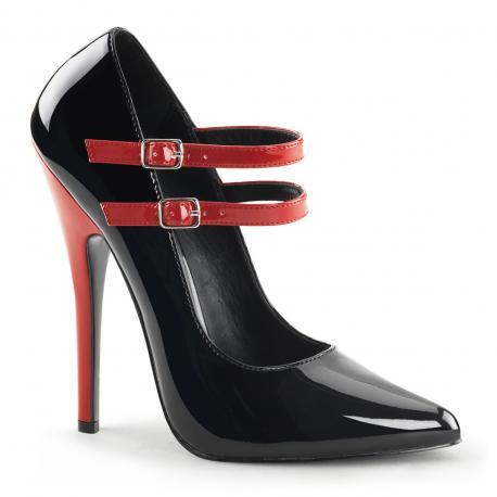 Escarpins sexy bicolores noir et rouge à double bride petite et grande taille du 35 au 44