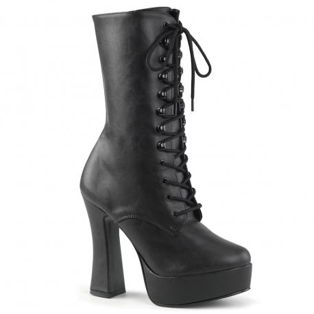 Boots gothique femme noire mat à plateforme et haut talon bobine grande taille du 36 au 44