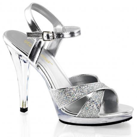 Sandale argentée talon plexi petite et grande taille du 35 au 46