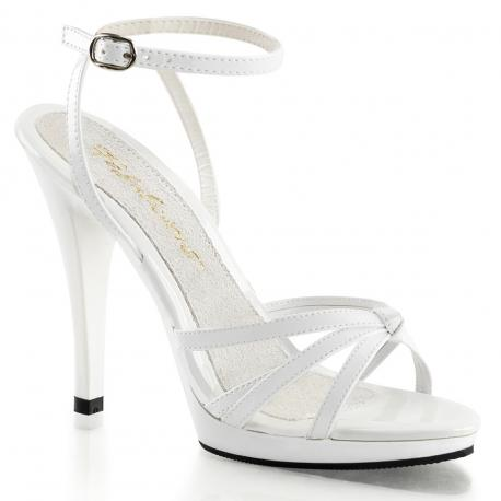 Sandale talon haut blanche petite et grande taille du 35 au 46