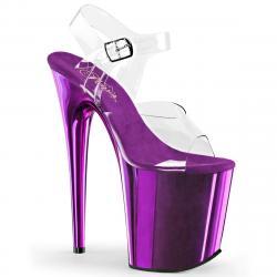 Chaussure pole dance violette chromée   FLAM808/C/PPCH