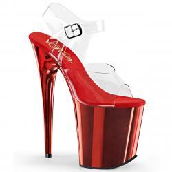 Chaussure pole dance rouge chromée | FLAM808/C/RCH