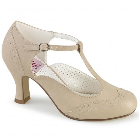 """Chaussure Pin Up beige """" Salomé """" à talon bobine de 7 cm"""