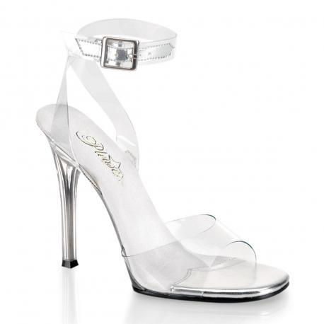 Sandale transparente et argentée à haut talon plexi