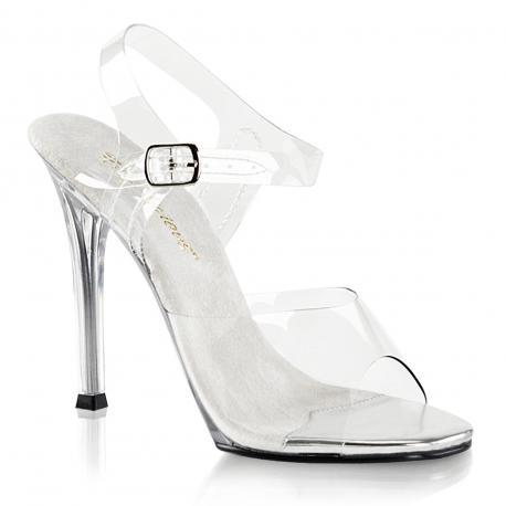 Sandale transparente à talon aiguille sexy en plexi avec bride cheville et semelle argentée