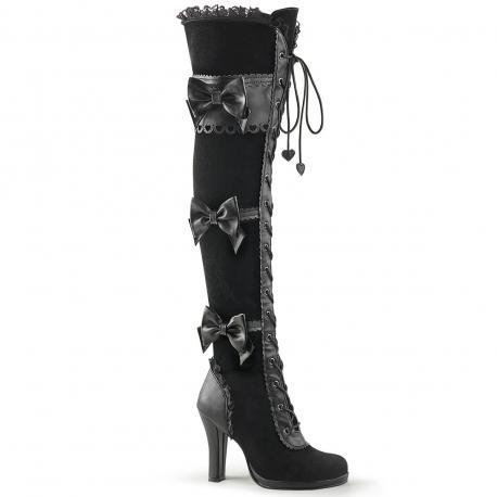 Cuissarde lolita gothique noire Demonia à lacets avec nœud ruban et feston
