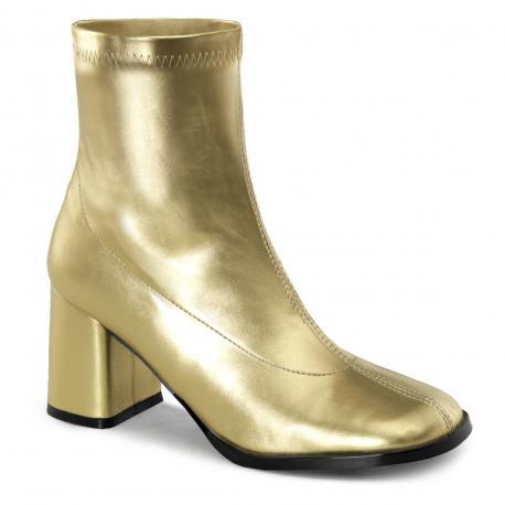 Bottine dorée à talon carré pour femme