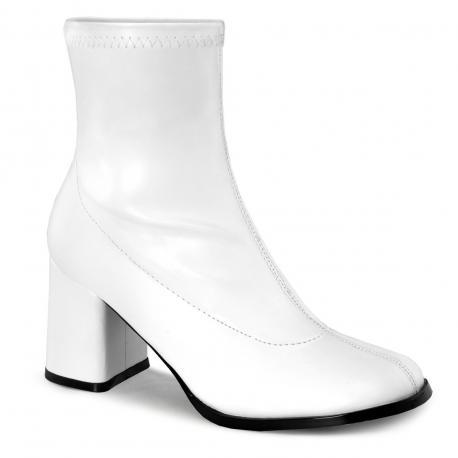Bottines blanches mat à talon carré pour femme style années 70