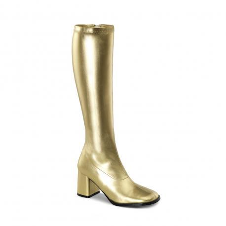 Botte dorée en stretch pour femme - talon carré - grande pointure du 35 au 46